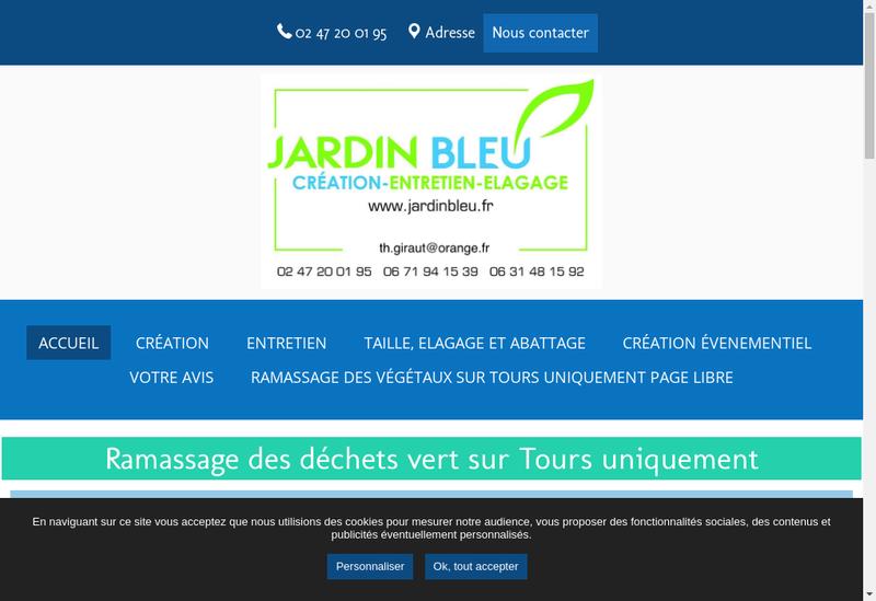 Capture d'écran du site de Jardin Bleu