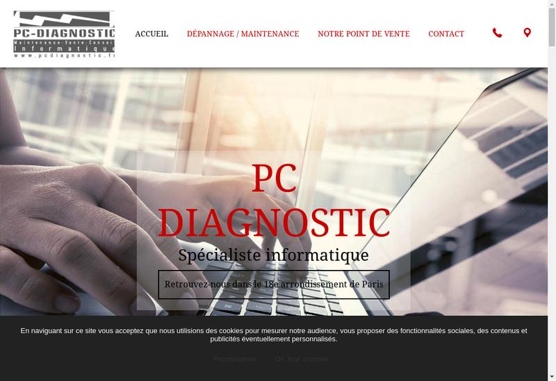 Capture d'écran du site de Pc Diagnostic Informatique