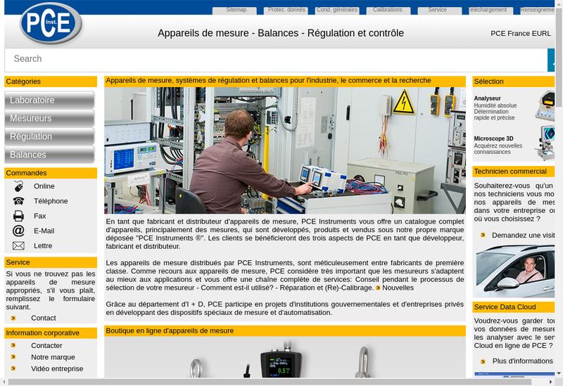Capture d'écran du site de Pce Instruments France