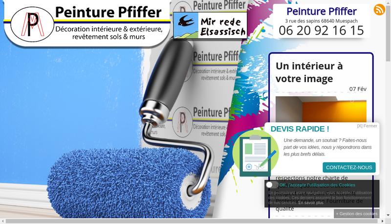 Capture d'écran du site de Peinture Pfiffer