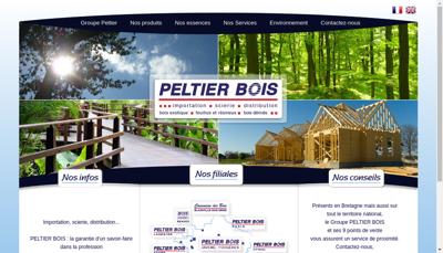 Capture d'écran du site de Peltier Bois Lyon