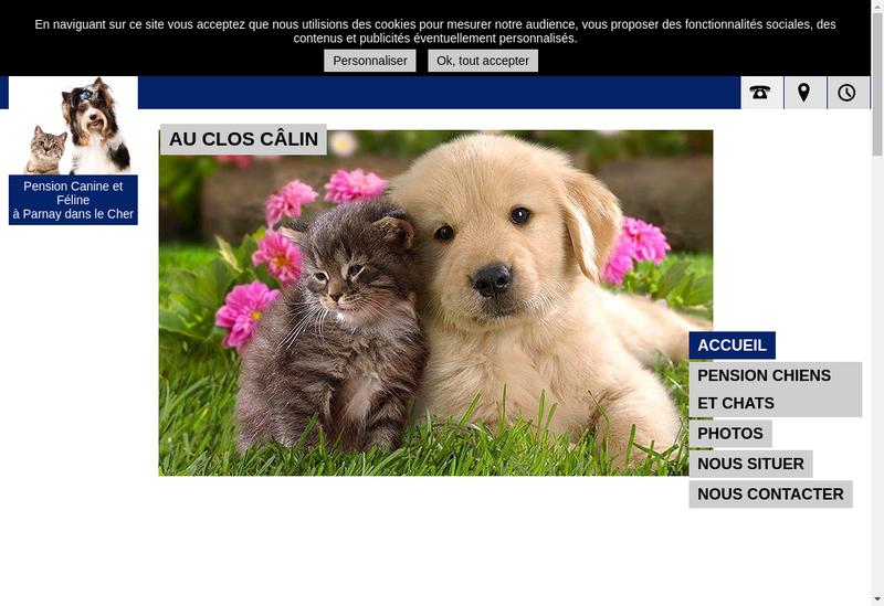 Capture d'écran du site de Au Clos Calin