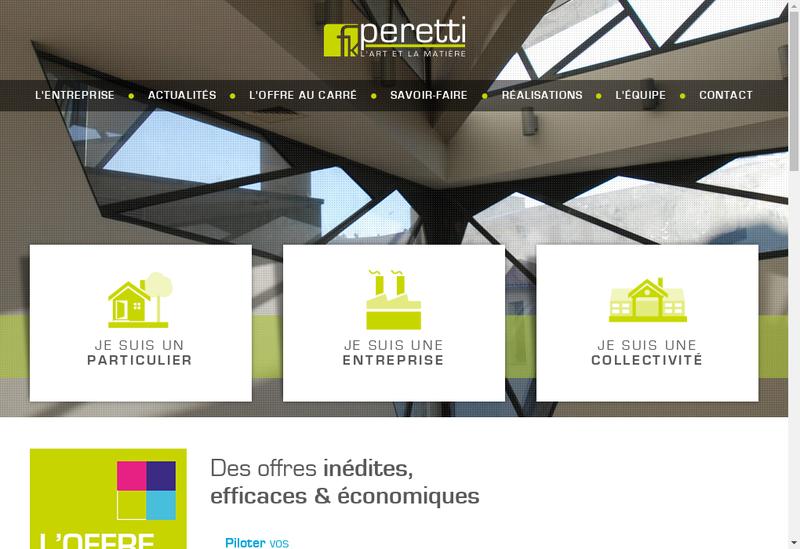 Capture d'écran du site de Entreprise Peretti
