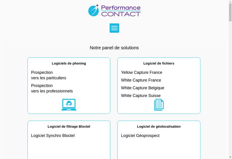 Capture d'écran du site de Performance Contact
