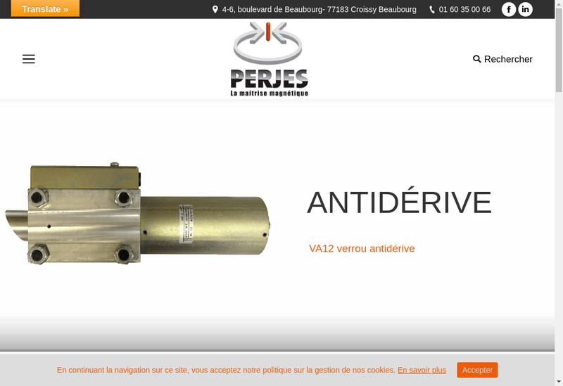 Capture d'écran du site de Perjes