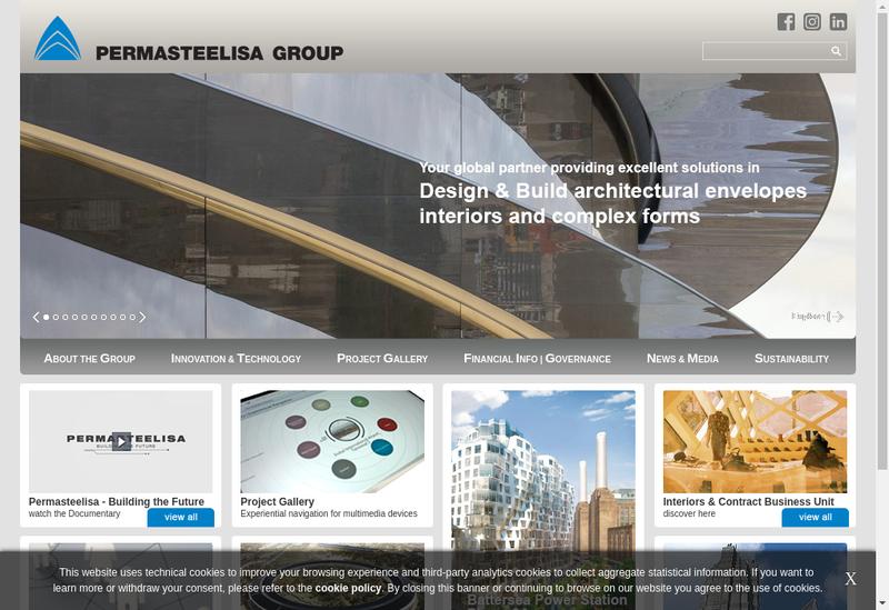Capture d'écran du site de Permasteelisa France SAS