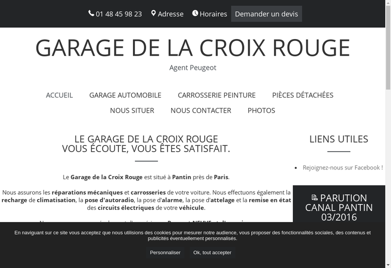 Capture d'écran du site de Societe Garage de la Croix Rouge