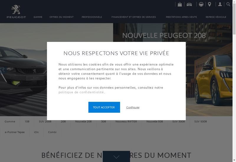 Capture d'écran du site de Peugeot SA
