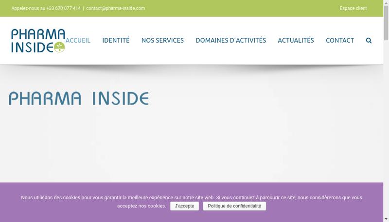 Capture d'écran du site de Pharma Inside