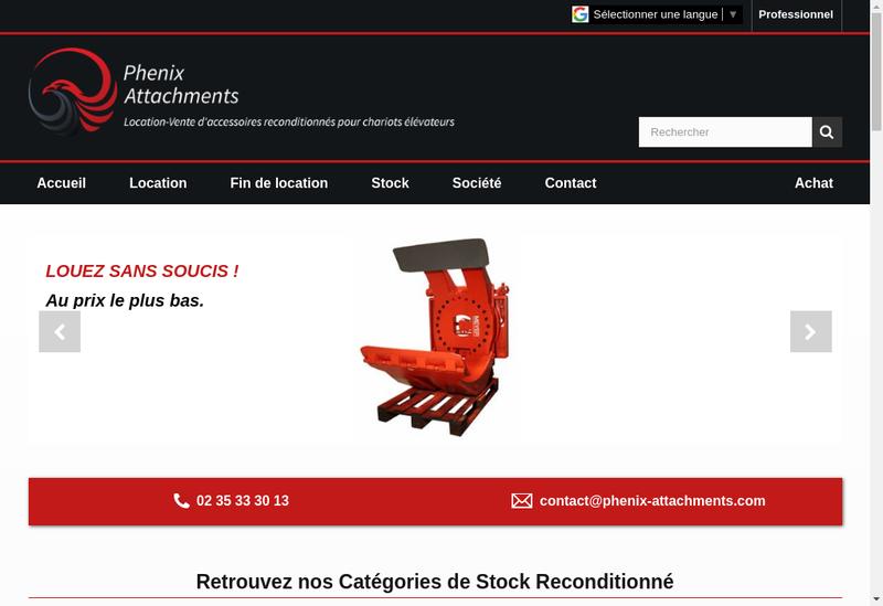 Capture d'écran du site de Phenix Attachments