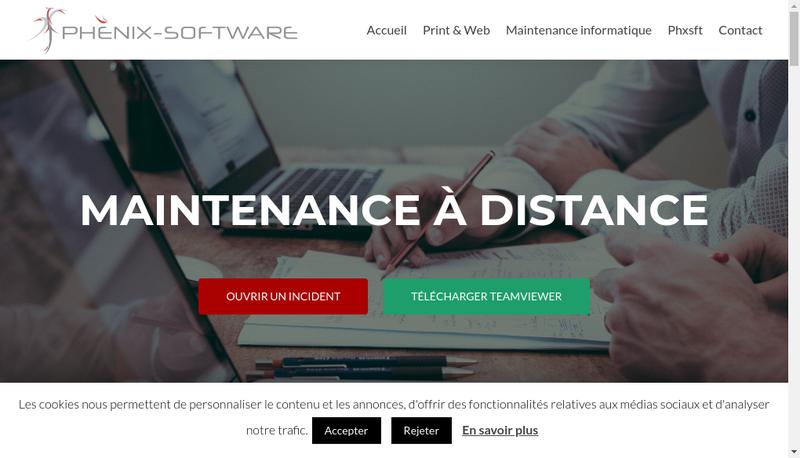 Capture d'écran du site de Phenix Software