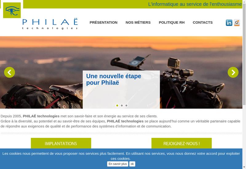 Capture d'écran du site de Philae Technologies