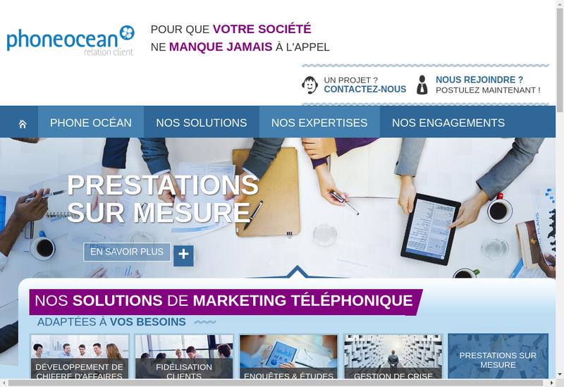 Capture d'écran du site de Phone Ocean