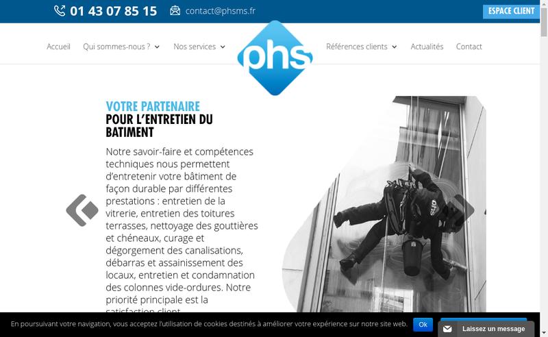 Capture d'écran du site de Pro Hygiene Solution