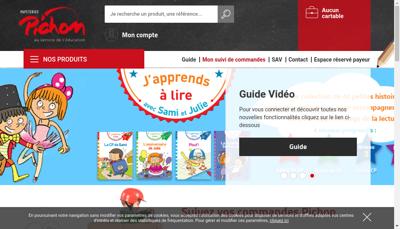 Capture d'écran du site de Papeteries Pichon