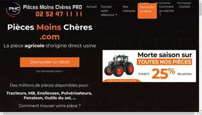 Capture d'écran du site de Pieces Moins Cheres - Pro
