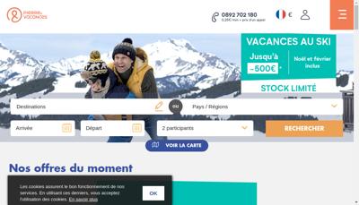 Capture d'écran du site de Pierre et Vacances Courtage