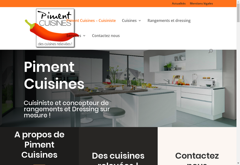 Capture d'écran du site de Piment Cuisines