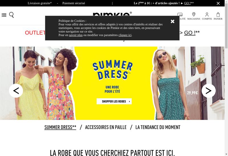 Capture d'écran du site de Pimkie