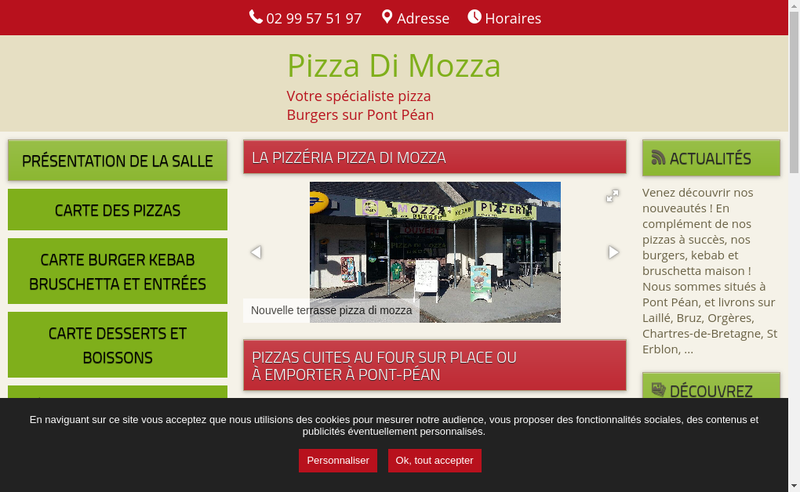 Capture d'écran du site de Pizza Di Mozza