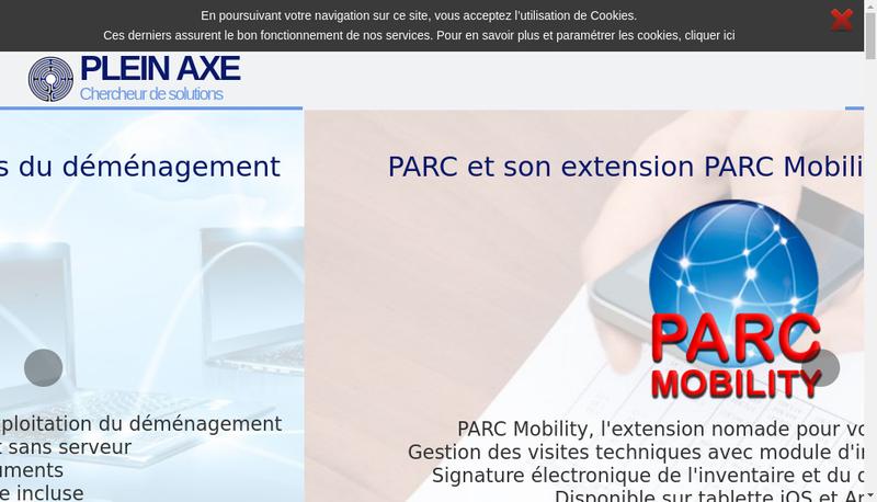 Capture d'écran du site de Plein Axe