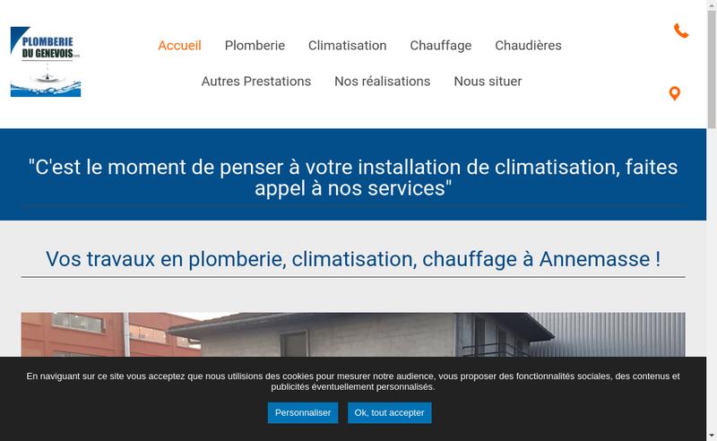 Capture d'écran du site de Plomberie du Genevois