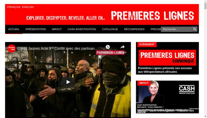 Capture d'écran du site de Premieres Lignes Television