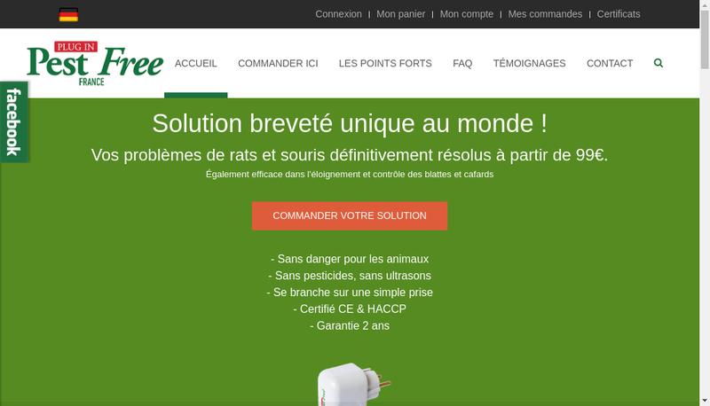Capture d'écran du site de Pest Free France