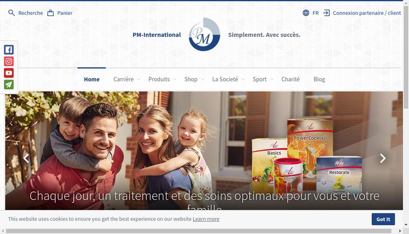Capture d'écran du site de Ag International