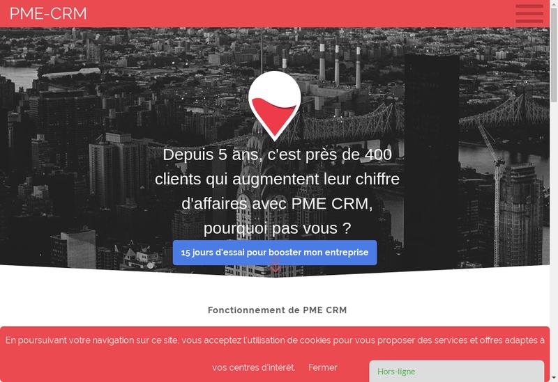 Capture d'écran du site de PME CRM
