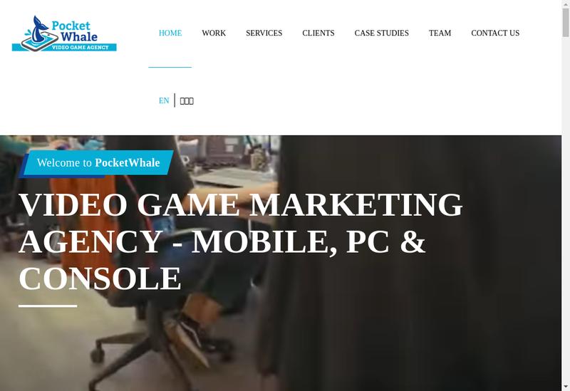Capture d'écran du site de Pocket Whale