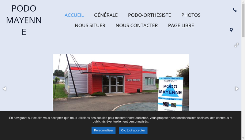 Capture d'écran du site de Podo Mayenne