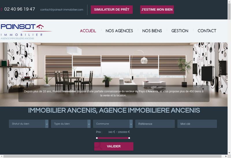 Capture d'écran du site de Poinsot Immobilier
