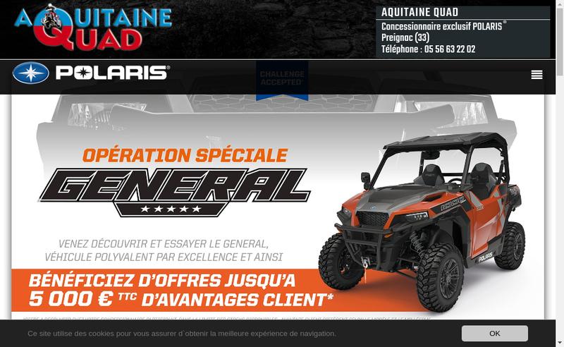 Capture d'écran du site de Aquitaine Quad