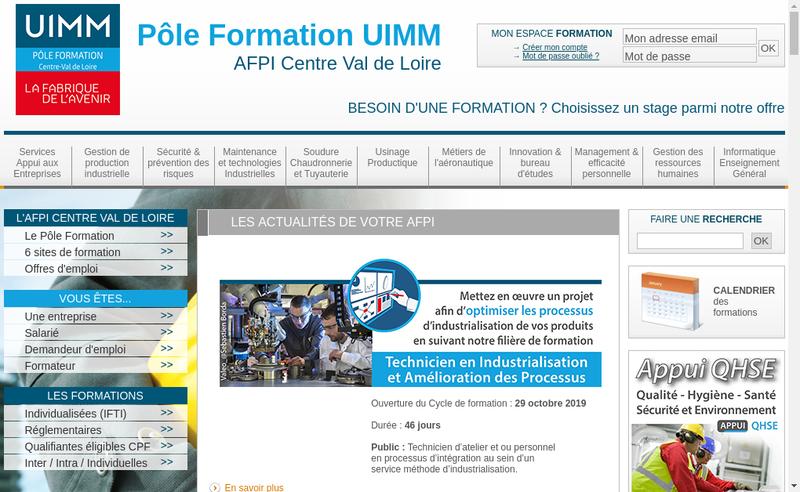 Capture d'écran du site de Afpi Centre Val de Loire