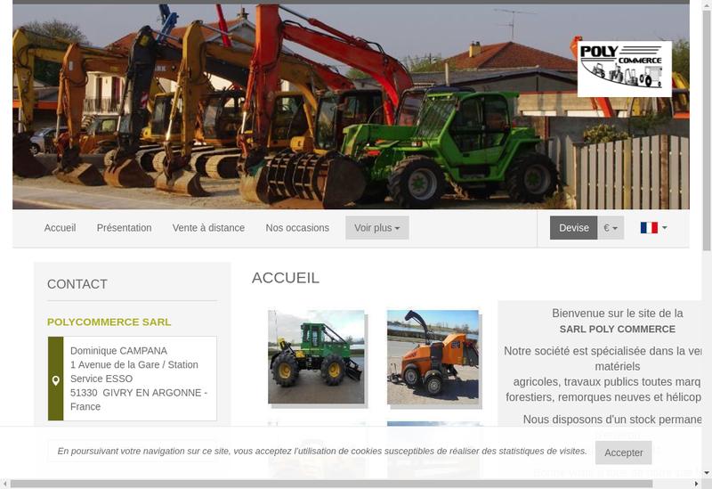 Capture d'écran du site de Poly Commerce