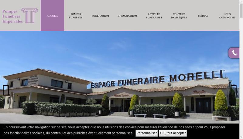 Capture d'écran du site de Pompes Funebres Imperiales