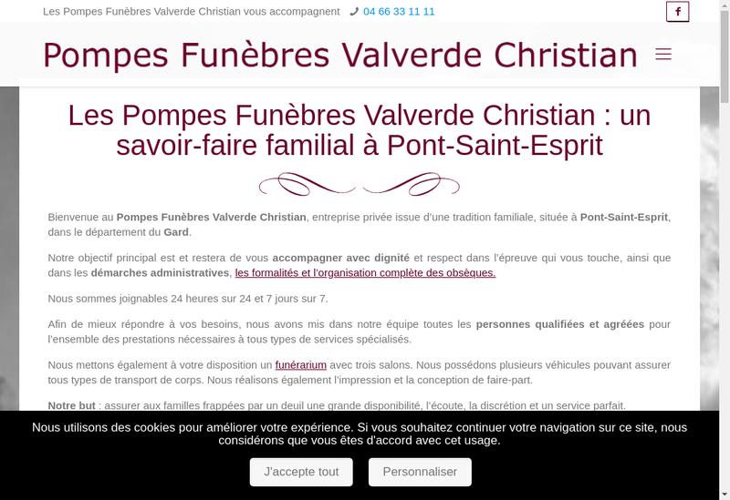 Capture d'écran du site de Pf Valverde Christian
