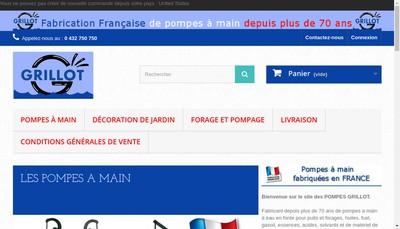 Site internet de Pompes Grillot