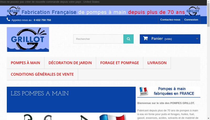 Capture d'écran du site de Pompes Grillot