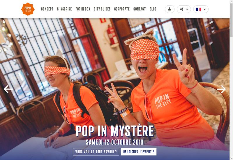 Capture d'écran du site de Pop In Events