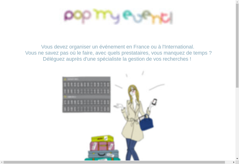 Capture d'écran du site de Pop My Event !