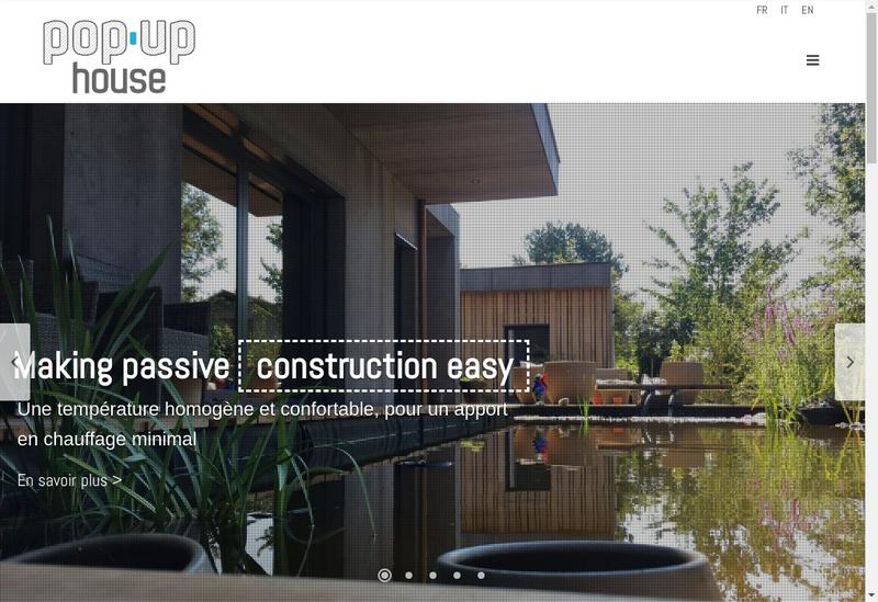 Capture d'écran du site de Popup House