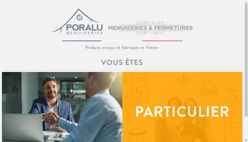 Capture d'écran du site de Poralu Menuiseries