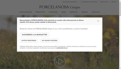 Site internet de Porcelanosa Paris Idf