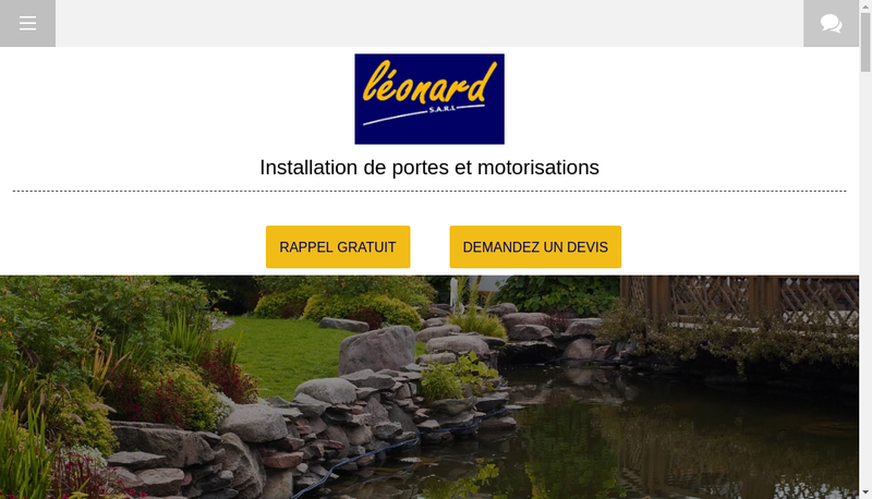 Capture d'écran du site de SARL Leonard
