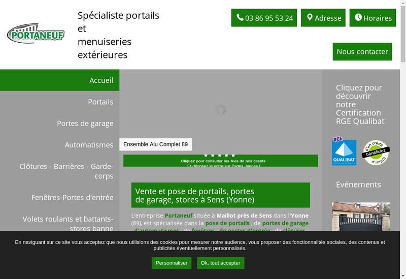Capture d'écran du site de SARL Portaneuf