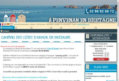 Site internet de Camping les Hauts de Port Blanc