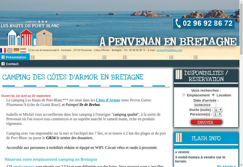 Capture d'écran du site de Camping les Hauts de Port Blanc