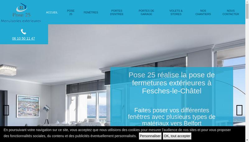 Capture d'écran du site de SARL Pose 25